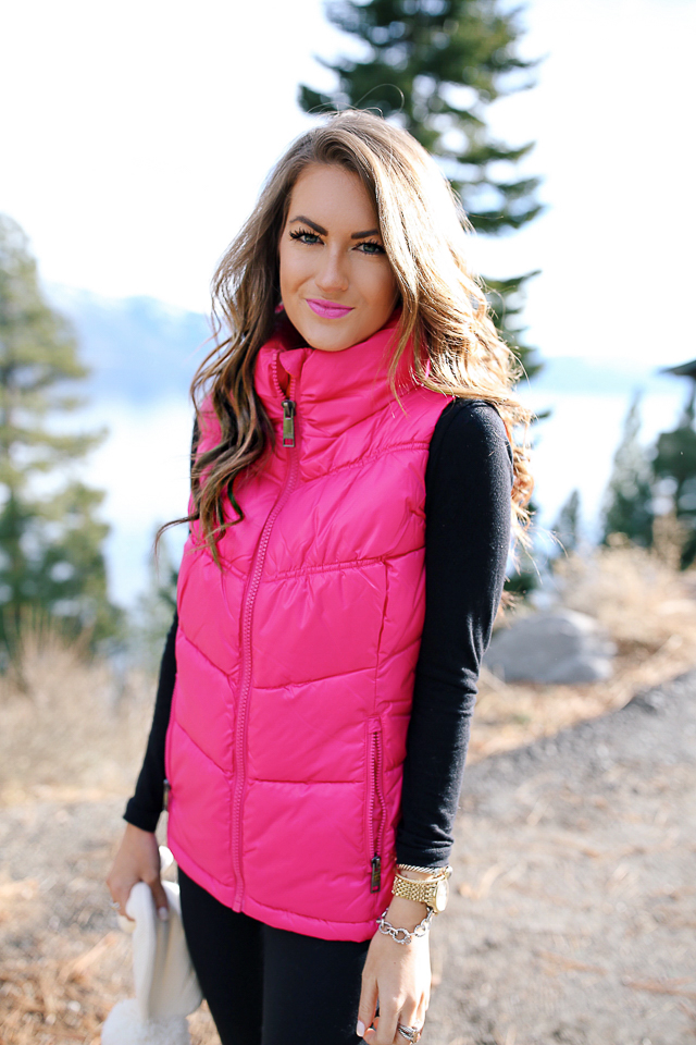 Southern Curls Amp Pearls Hot Pink Puffer Vest