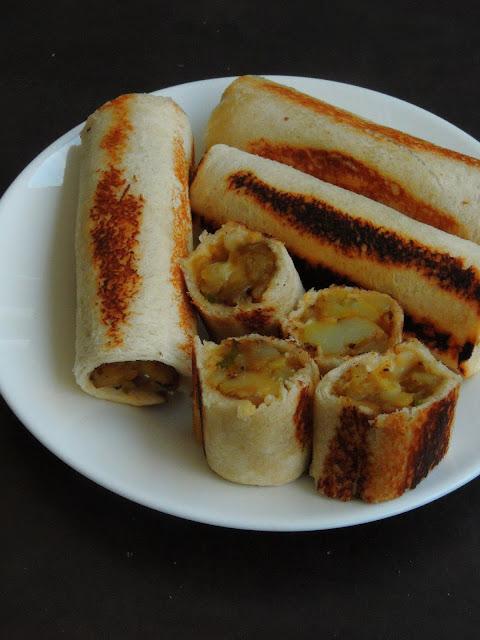 Cheesy Potato masala Bread rolls