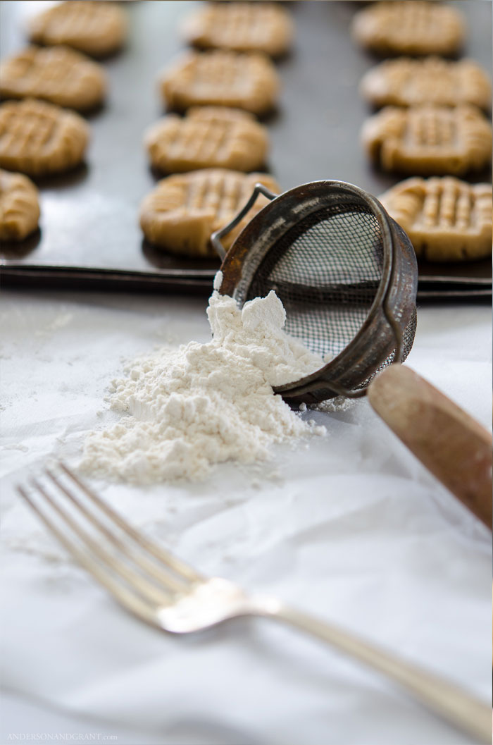 The perfect recipe for peanut butter cookies that are soft, chewy, and full of flavor.  Get the recipe at www.andersonandgrant.com #cookie #recipe #peanutbutter