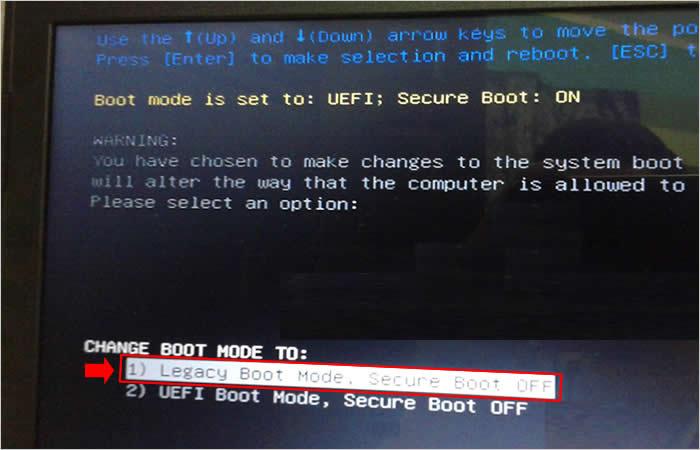 Selecionando o modo Legacy e desativando o secure boot do Dell Inspiron 5566