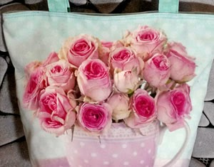 Shabby Chic Flower Cup Totebag