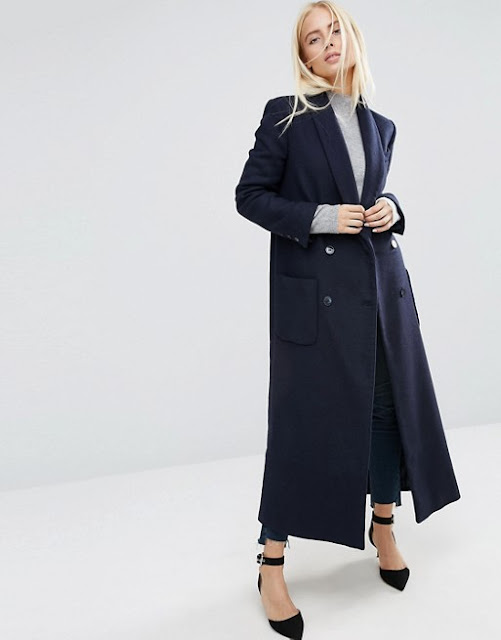 asos navy maxi coat, navy full length coat,