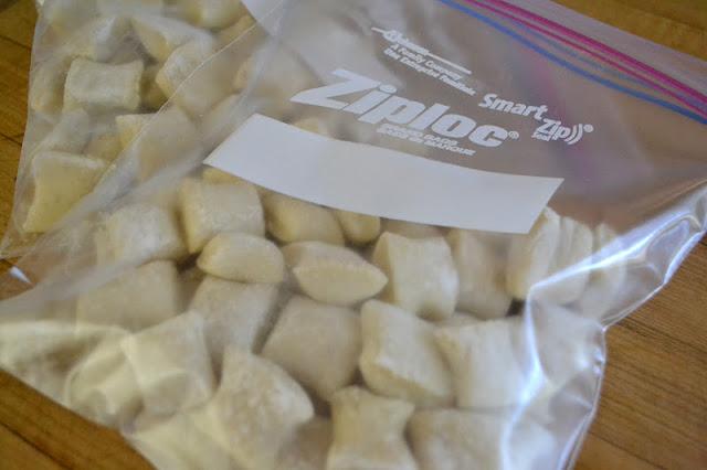 Homemade gnocchi in a baggie