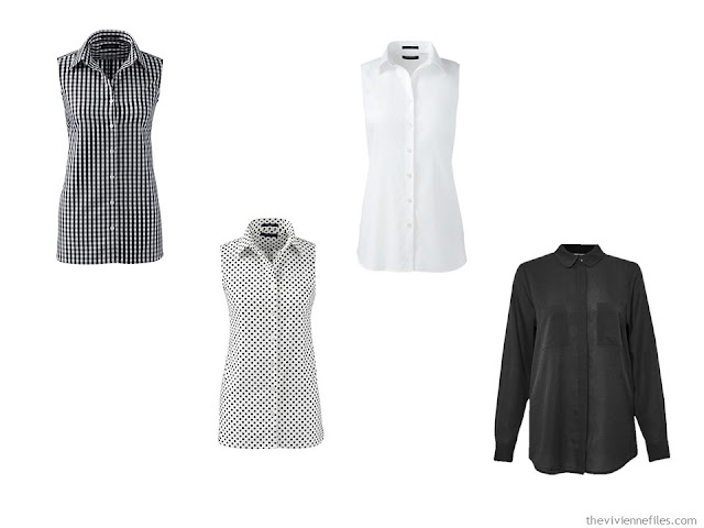 Four black and white tops for a capsule wardrobe