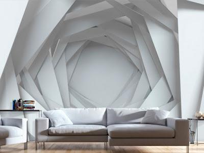 3D effect wallpaper design for wall behind sofa