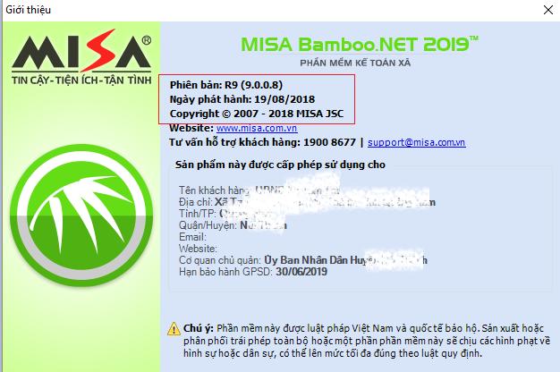 Cập nhật MISA Bamboo.NET 2019 R9 (19/08/2018)