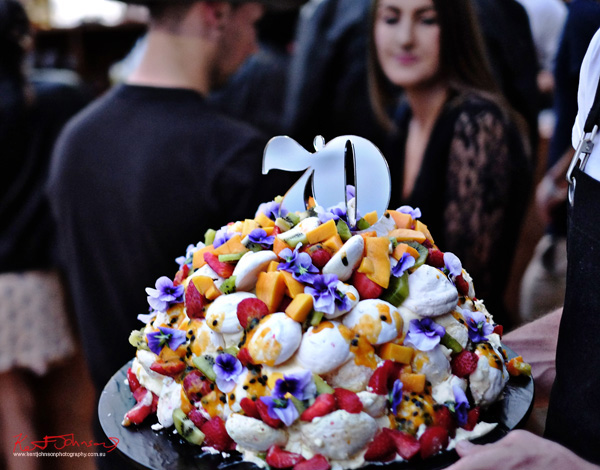 The divine birthday cake the great Aussie pavlova! Windsor Smith Celebrates 70 years at #HarbourLife Sydney 2016. Photographed by Kent Johnson for Street Fashion Sydney.