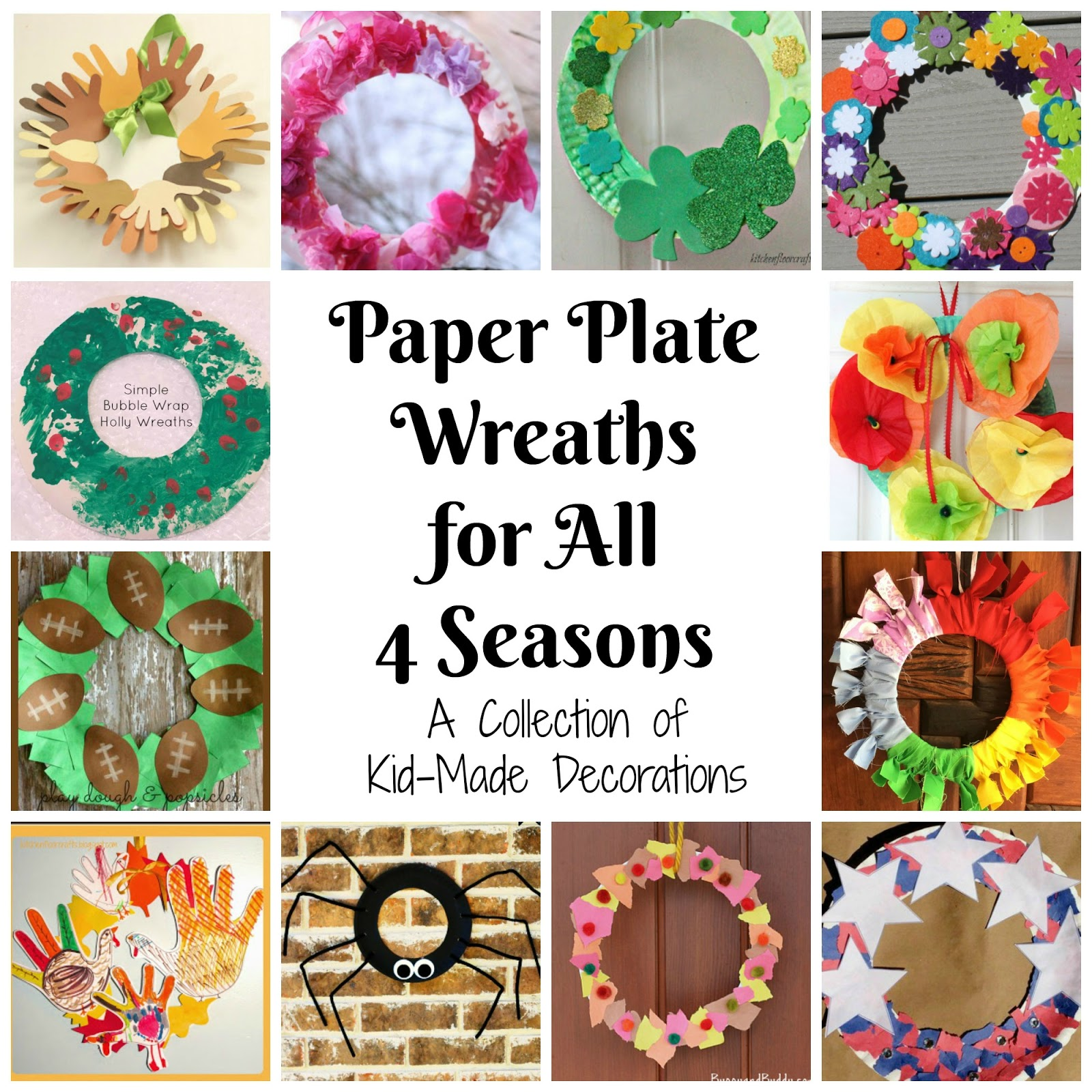 ...  Paper Plate Wreath  using a paper plate and some decorations. In fact we find them so easy weu0027ve made them for several different seasons and holidays!  sc 1 st  Kitchen Floor Crafts - Blogger & Kitchen Floor Crafts: Paper Plate Wreaths for All 4 Seasons