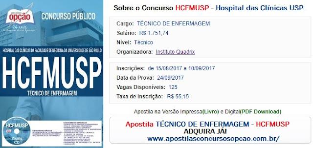 Apostila Técnico de Enfermagem - concurso HC FMUSP 2017.
