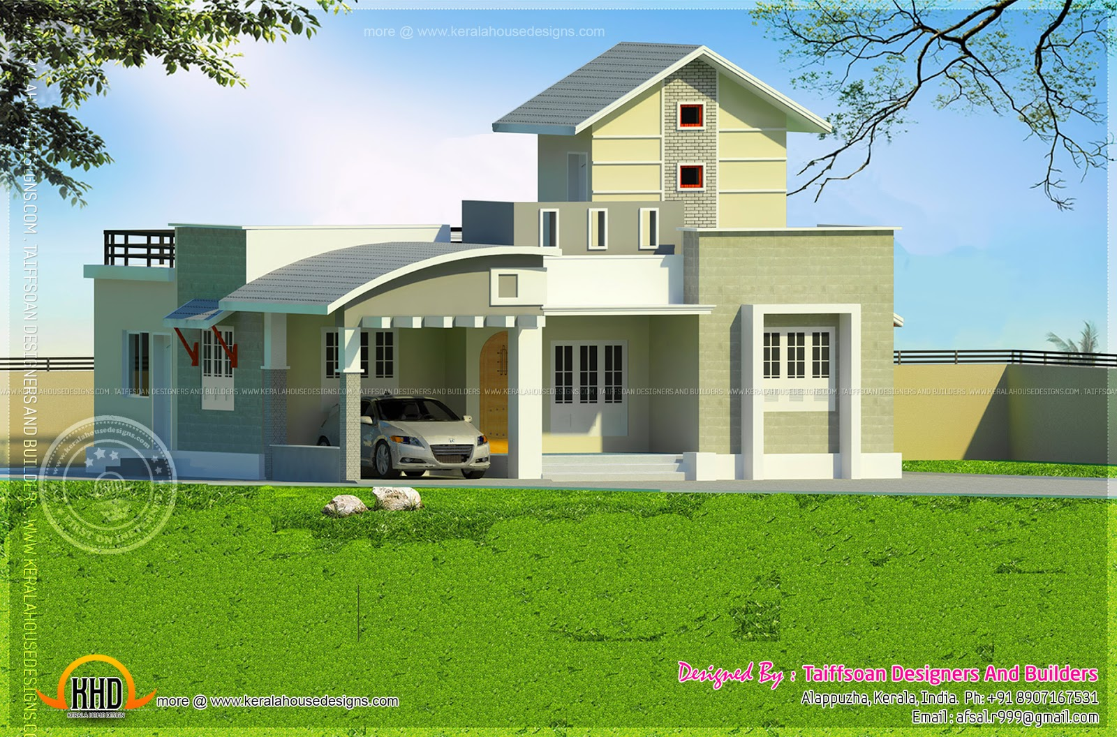 2 bedroom single storied house kerala home design and for One floor farmhouse plans