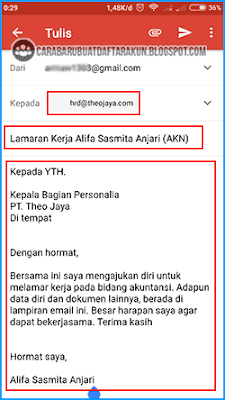 contoh body email lamaran kerja di hp
