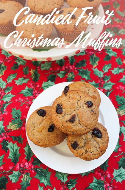 Food Lust People Love: Candied fruit Christmas muffins are made with a sweet, but not too sweet, vanilla crumb, filled with a mix of chewy fruit. They smell wonderful while they bake, filling the house with the sweet scent of Christmas. Perfect for a holiday breakfast or snack time with a hot cup of tea.