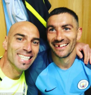 Man City defender Kolarov loses front tooth during epic derby battle today (photos)