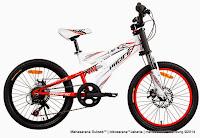 Sepeda Gunung Remaja Pacific Viper 6 Speed Full Suspension 20 Inci White Red