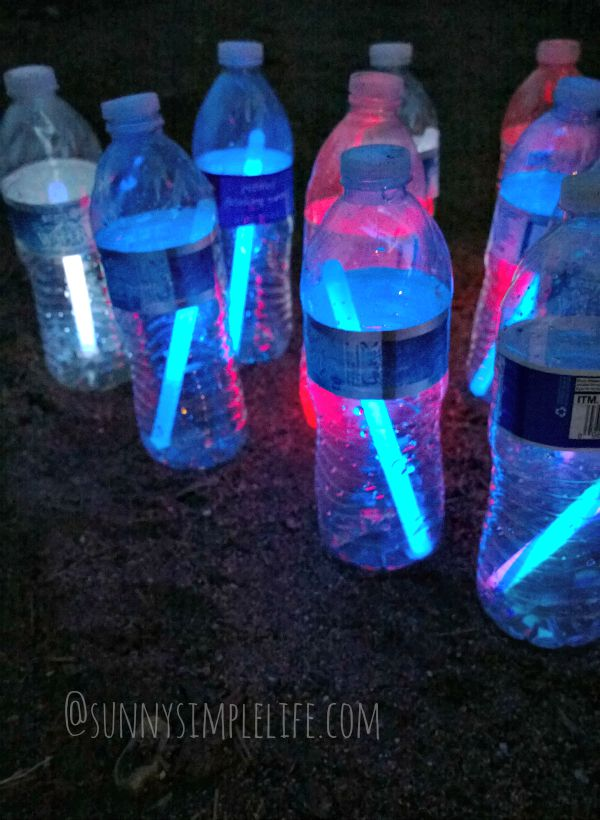 glow stick bowling, camping games, backyard fun