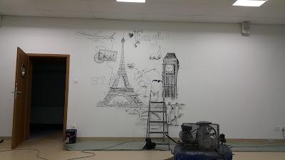 Mural w szkole, malowanie murali, malowanie graffiti na terenie szkoły, aranżacja klasy językowej