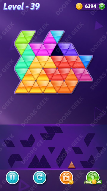 Block! Triangle Puzzle 12 Mania Level 39 Solution, Cheats, Walkthrough for Android, iPhone, iPad and iPod