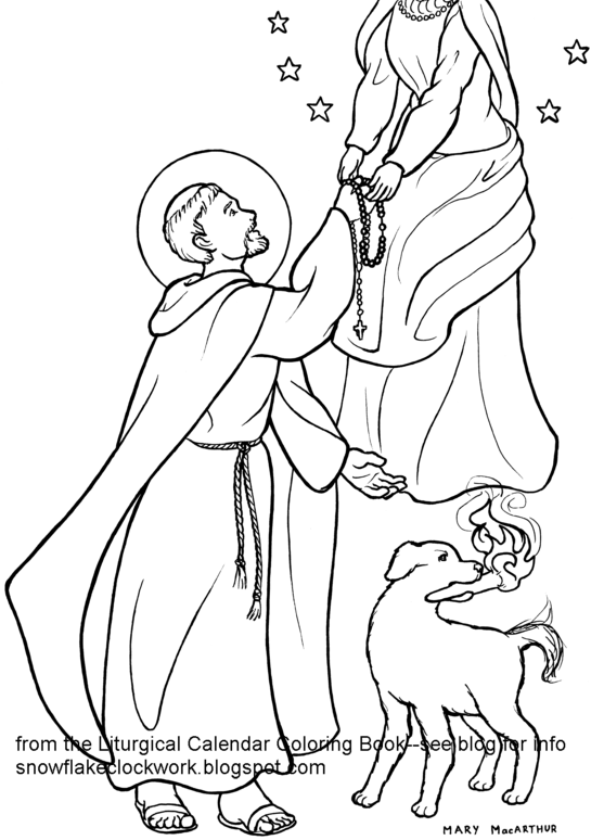 Snowflake clockwork st dominic coloring page august pages for Saint dominic savio coloring page