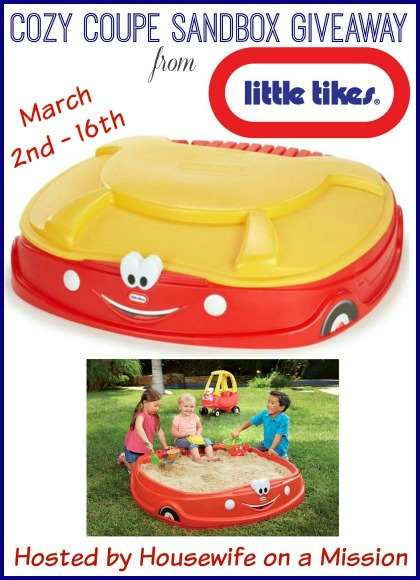 Enter the Little Tikes Cozy Coupe Sandbox Giveaway. Ends 3/16.