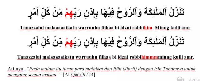 Contoh Bacaan Idgham Mimi pada Surat Al-Qodr ayat 4