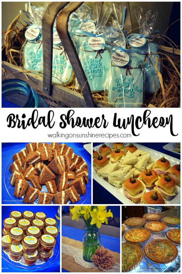 The perfect bridal shower luncheon menu from Walking on Sunshine Recipes.