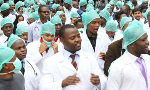 Image result for Medical doctors protest against colleague's abduction in Abia