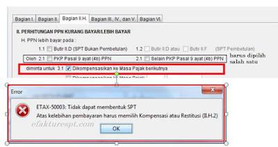 e-Faktur Error ETAX-50003 Atas Kelebihan Pembayaran Harus Memilih Kompensasi atau Restitusi (II.H.2)