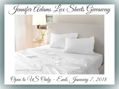 Enter the Jennifer Adams Lux Sheets Giveaway. Ends 1/7/18