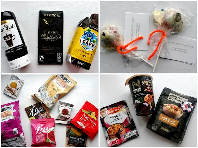 Chocolate products, marshmallow, packets of food