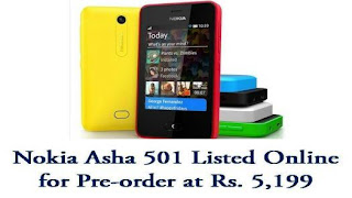 Nokia has listed its new Asha 501 smartphone on its own online store in India at Rs. 5,199.