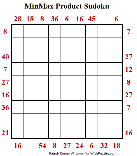 MinMax Product Sudoku Puzzle (Fun With Sudoku #281)