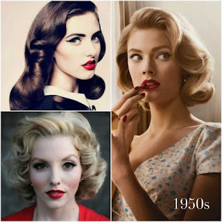 Vintage hairstyles with big waves & curls