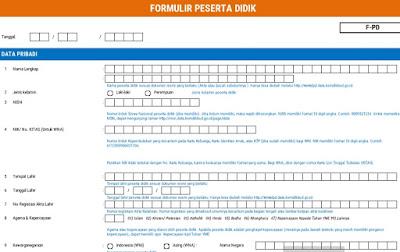Formulir Dapodik Peserta Didik SD-SMP-SMA-SMK 2018