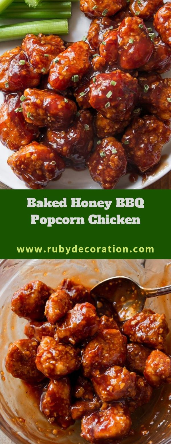 Baked Honey BBQ Popcorn Chicken