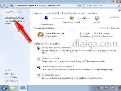 klik 'Change Adapter Settings'