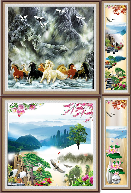 vector trang ngựa, Hoa sen, sông suối