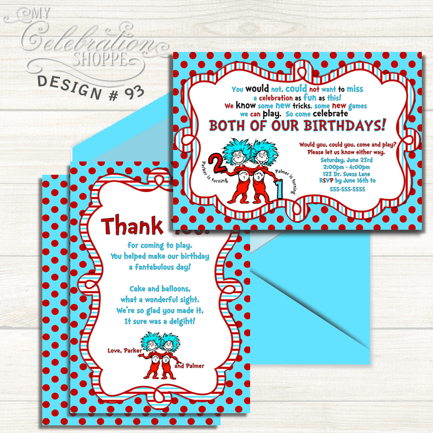 No Dr Seuss Birthday Party Is Complete Without A Thing One Two Invitation Your Kids Will Love This 1 2 Invitations