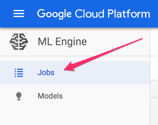 jobs tab in ML Engine on Cloud console