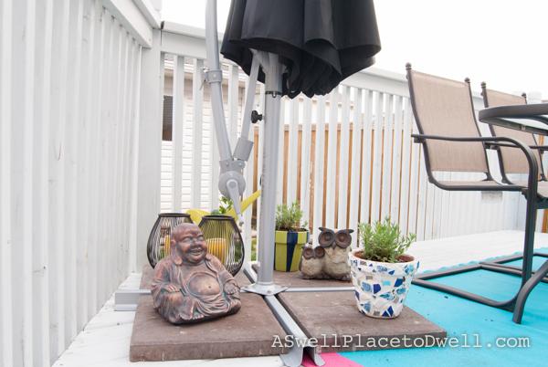 Ikea umbrella base with lavender plants