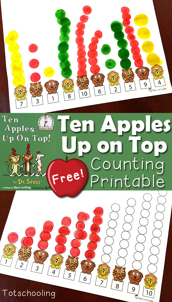 image regarding Apples to Apples Cards Printable referred to as 10 Apples Up Upon Ultimate: Counting Printable Recreation