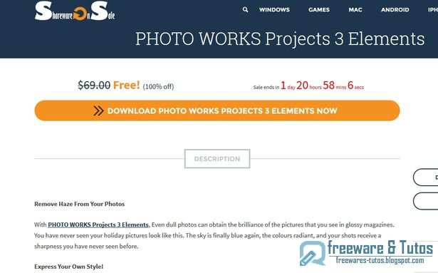 Offre promotionnelle : PHOTO WORKS Projects 3 Elements gratuit à nouveau !