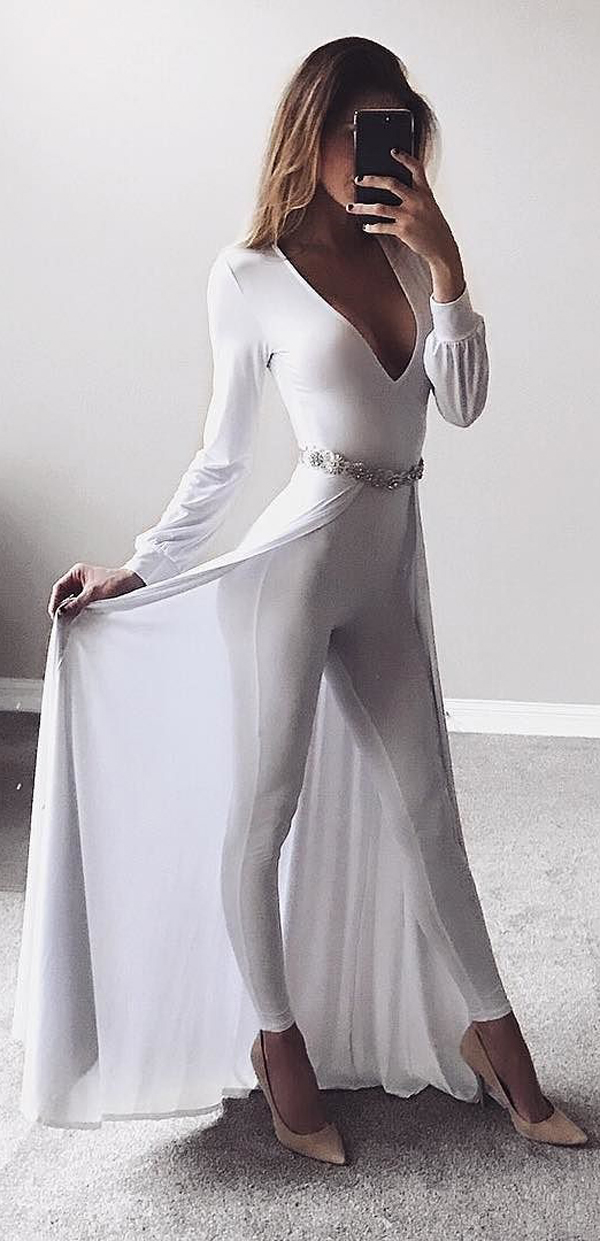 slinky white dress
