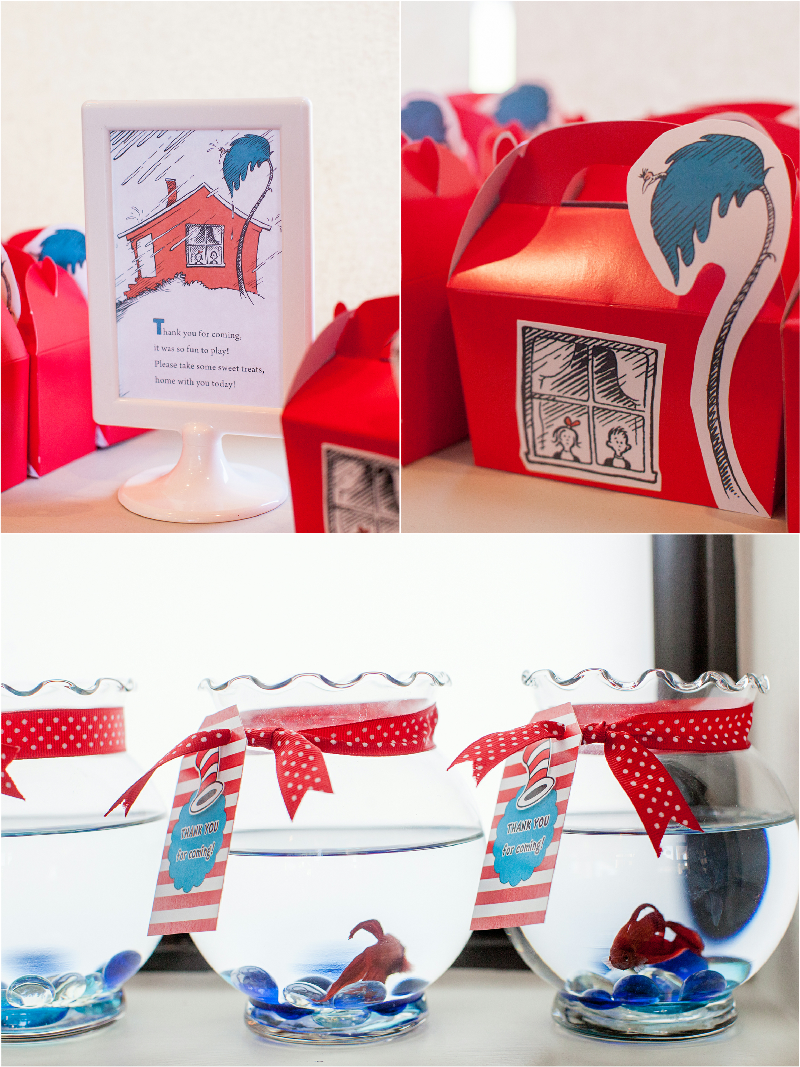 Cat in The Hat Inspired 3rd Birthday Party Favors - via BirdsParty.com