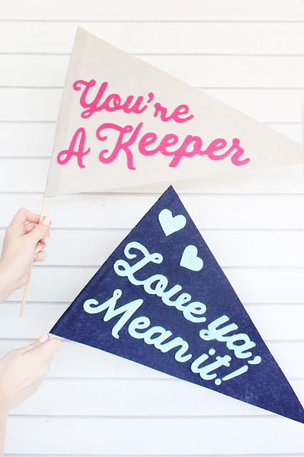 Make felt pennant banners with customized messages for Valentine's Day