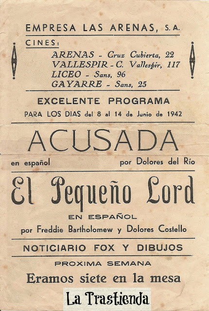 Programa de Cine - Acusada - Dolores del Rio - Douglas Fairbanks Jr.