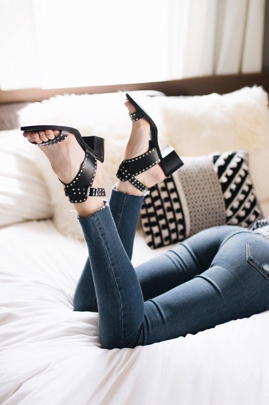 Studded block heel sandals | Steve Madden Gila