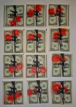 Blood Money Hand Painted Multiples on US Currency