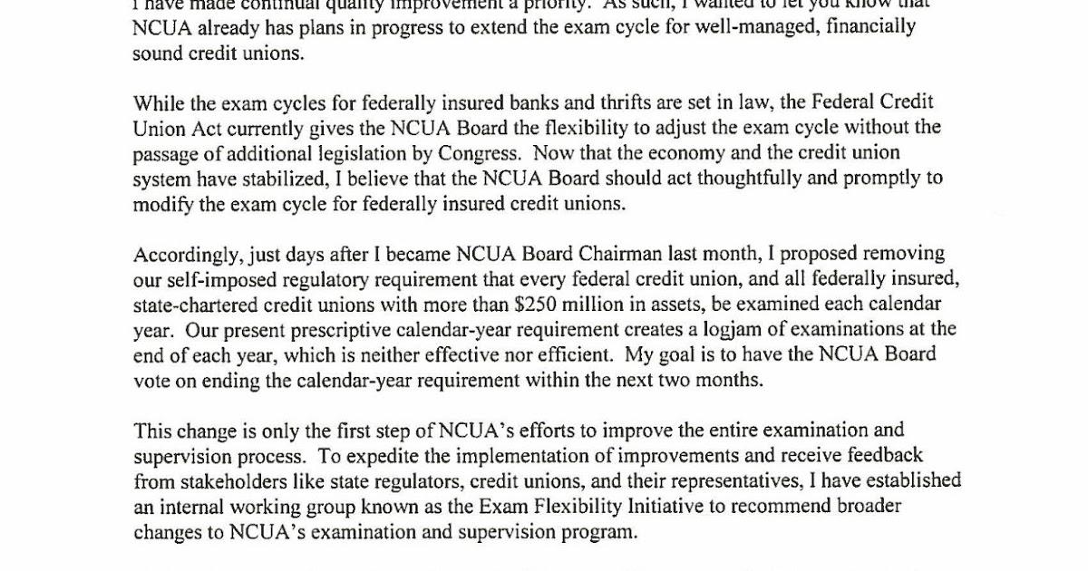 Nh Federal Credit Union >> Keith Leggett's Credit Union Watch: NCUA Tells Chairman Hensarling to Keep Exam Cycle Flexibility