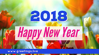 Beautiful 2018 flower greetings on New Year festival celebration