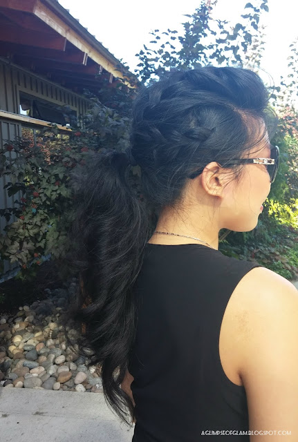 French Braid Braided Ponytail with Heatless Curls - Andrea Tiffany A Glimpse of Glam